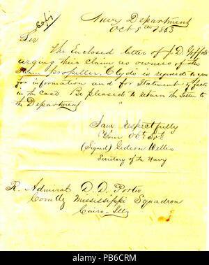 901 Letter from Gideon Welles, secretary of the navy, to David D. Porter, Cairo, Illinois, October 8, 1863 - Stock Photo