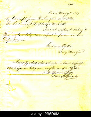 901 Letter from Gideon Welles, Washington, D. C., to Seth Ledyard Phelps, May 9, 1864 - Stock Photo