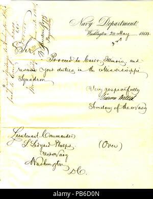 901 Letter from Gideon Welles, Washington, D. C., to Seth Ledyard Phelps, Washington, D. C., May 20, 1864 - Stock Photo