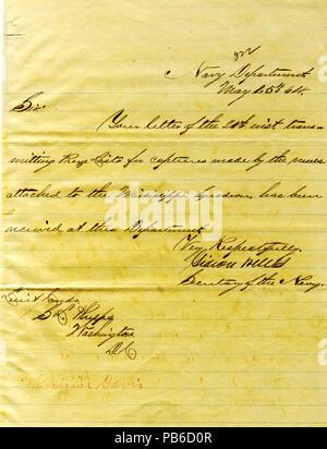 901 Letter from Gideon Welles, Washington, D. C., to Seth Ledyard Phelps, Washington, D. C., May 25, 1864 - Stock Photo