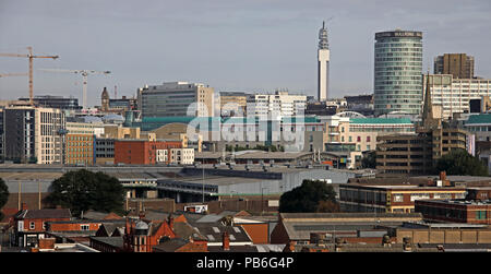 Birmingham City Centre Panoramic Skyline view, West Midlands, England, UK, from south of town - Stock Photo