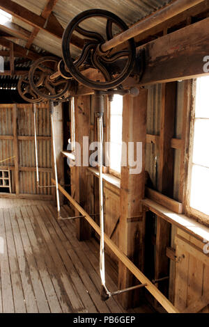 Old Murray Downs Shearing Shed which has been relocated from the banks of the Murray River Swan Hill to Hay in NSW, Australia - Stock Photo