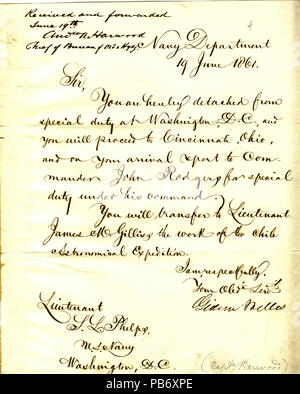 901 Letter from Gideon Welles to (Seth Ledyard) Phelps, Washington, D. C., June 19, 1861 - Stock Photo