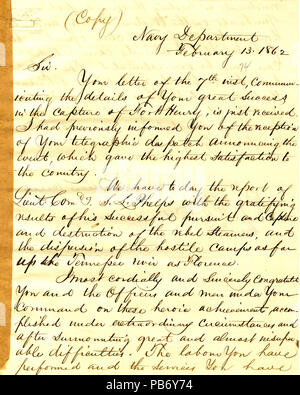 901 Letter from Gideon Welles to A. H. Foote, Cairo, Illinois, February 13, 1862 - Stock Photo