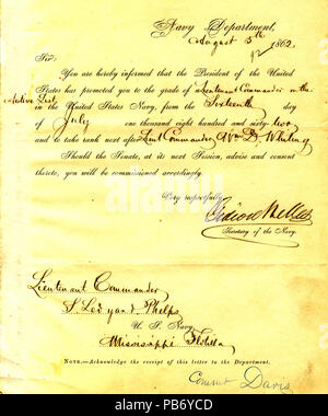 901 Letter from Gideon Welles to Seth Ledyard Phelps, August 5, 1862 - Stock Photo