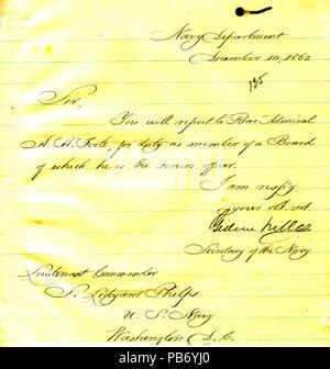 901 Letter from Gideon Welles to Seth Ledyard Phelps, Washington, D. C., December 10, 1862 - Stock Photo