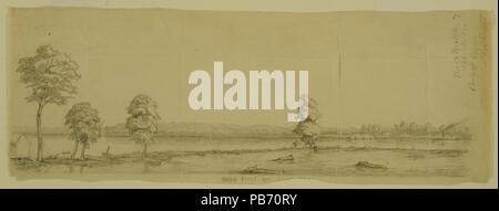 "1180 Pencil Drawing, ""Bird's Point, Mo. opposite the Camp at Cairo"" by Alexander Simplot - Stock Photo"
