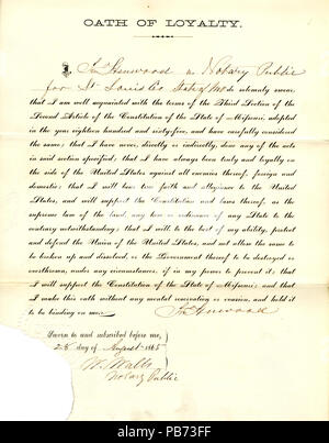 950 Loyalty oath of Jno. Henwood of Missouri, County of St. Louis - Stock Photo