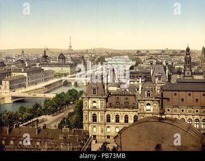 1165 Panorama of the seven bridges, Paris, France, ca. 1890-1900 - Stock Photo