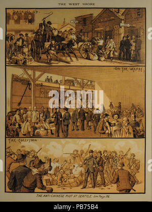 1842 West Shore Magazine on the Seattle anti-Chinese riot 02 - Stock Photo