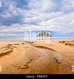 Moturoi Island, Anaura Bay, Gisborne, New Zealand, under a moody sky. - Stock Photo