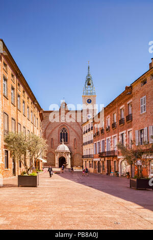 Place Leon Gambetta and the Cathedral Basilica of Saint John the Baptist, Perpignan, Languedoc-Roussillon, Pyrenees-Orientales, France. - Stock Photo