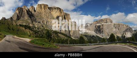 Sass Pordoi in the Italian Dolomites, as seen from Passo Sella. Italy. - Stock Photo