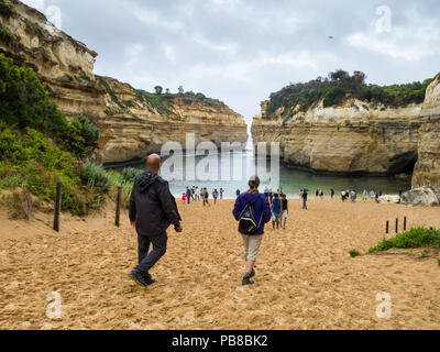 Beach at Loch Ard Gorge, Port Campbell National Park, Great Ocean Road, Victoria, Australia - Stock Photo