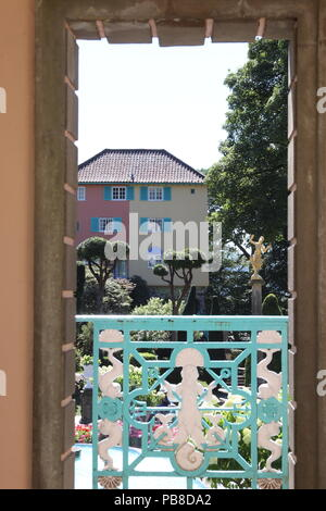 Village of Portmeirion a top tourist attraction in North Wales - Stock Photo