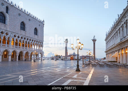 San Marco square, nobody in the early morning in Venice, Italy - Stock Photo