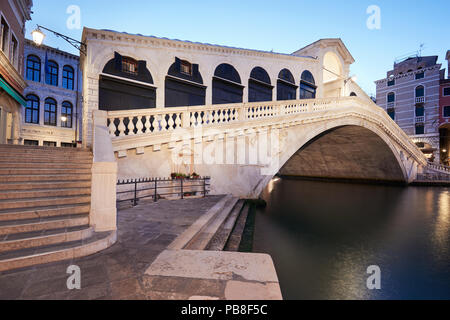 The Grand Canal and Rialto bridge in the morning, nobody in Venice, Italy - Stock Photo
