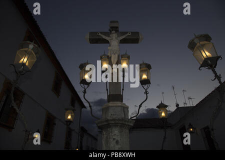 June 10, 2018 - CóRdoba, Spain - Christ of the Lanterns at night.Córdoba was the capital of the Later Hispania in the times of the Roman Republic, or of the Bética province during the Roman Empire and the Caliphate of Córdoba during the Muslim era. Credit: Lito Lizana/SOPA Images/ZUMA Wire/Alamy Live News - Stock Photo