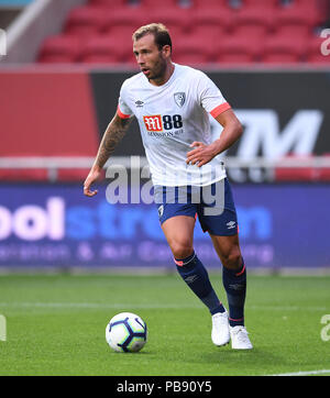 Ashton Gate, Bristol, UK. 27th July, 2018. Pre Season football friendly, Bristol City versus AFC Bournemouth; Steve Cook of AFC Bournemouth clears the ball Credit: Action Plus Sports/Alamy Live News - Stock Photo