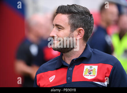Ashton Gate, Bristol, UK. 27th July, 2018. Pre Season football friendly, Bristol City versus AFC Bournemouth; Lee Johnson Manager of Bristol City Credit: Action Plus Sports/Alamy Live News - Stock Photo