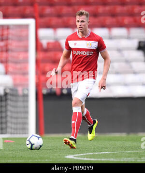 Ashton Gate, Bristol, UK. 27th July, 2018. Pre Season football friendly, Bristol City versus AFC Bournemouth; Adam Webster of Bristol City brings the ball forward Credit: Action Plus Sports/Alamy Live News - Stock Photo
