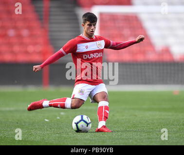Ashton Gate, Bristol, UK. 27th July, 2018. Pre Season football friendly, Bristol City versus AFC Bournemouth; Liam Walsh of Bristol City crosses the ball Credit: Action Plus Sports/Alamy Live News - Stock Photo