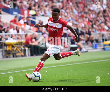 Ashton Gate, Bristol, UK. 27th July, 2018. Pre Season football friendly, Bristol City versus AFC Bournemouth; Niclas Eliasson of Bristol City prepares to cross the ball Credit: Action Plus Sports/Alamy Live News - Stock Photo