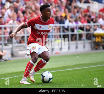 Ashton Gate, Bristol, UK. 27th July, 2018. Pre Season football friendly, Bristol City versus AFC Bournemouth; Niclas Eliasson of Bristol City on the ball Credit: Action Plus Sports/Alamy Live News - Stock Photo