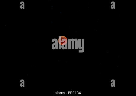 Lunar eclipse 27 July 2018. - Stock Photo