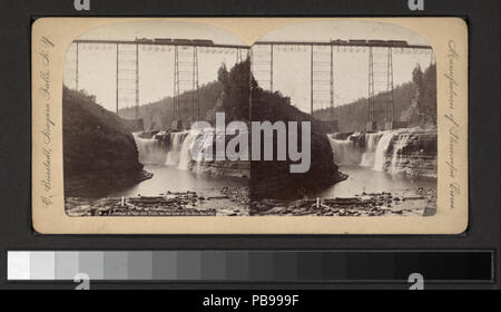 1094 New Portage Bridge and Falls on the Line of the Erie Railway (NYPL b11707987-G91F132 037F) - Stock Photo
