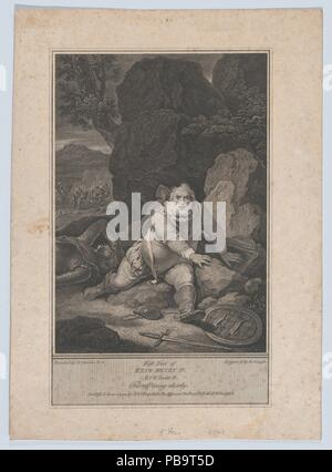 Falstaff Rising Slowly (Shakespeare, First Part of King Henry IV, Act 5, Scene 4). Artist: After Robert Smirke (British, Wigton, Cumberland 1752/53-1845 London). Dimensions: Sheet: 12 1/2 × 9 1/16 in. (31.8 × 23 cm). Engraver: James Neagle (British, London 1765- 1822 Philadelphia, Pennsylvania). Publisher: John & Josiah Boydell (British, 1786-1804). Series/Portfolio: Shakespeare Gallery (small series). Subject: William Shakespeare (British, Stratford-upon-Avon 1564-1616 Stratford-upon-Avon). Date: June 4, 1794. Museum: Metropolitan Museum of Art, New York, USA. - Stock Photo