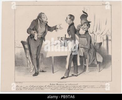 Plate 19: Robert Macaire at the restaurant, from 'Caricaturana,' published in Les Robert Macaires. Artist: Honoré Daumier (French, Marseilles 1808-1879 Valmondois). Author: Charles Philipon (French, Lyons 1800-1862 Paris). Dimensions: Image: 8 7/16 × 10 13/16 in. (21.5 × 27.4 cm)  Sheet: 10 1/4 × 13 7/16 in. (26.1 × 34.2 cm). Printer: Aubert et Cie; Junca. Publisher: Aubert et Cie. Series/Portfolio: 'Caricaturana'. Date: 1838.  - My God!... By the most appalling error my friend and I forgot to take some money this morning... As you don't have the honor of knowing us, may I offer you as collate - Stock Photo