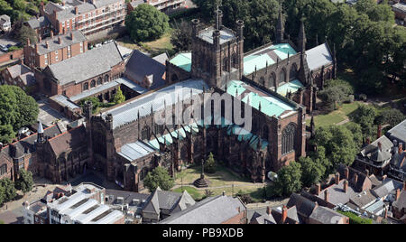 aerial view of Chester Cathedral, Cathedral Church Of Christ & The Blessed Virgin Mary, Cheshire, UK - Stock Photo