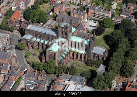aerial view of Chester Cathedral, Cathedral Church Of Christ & The Blessed Virgin Mary, Cheshire, UK Stock Photo