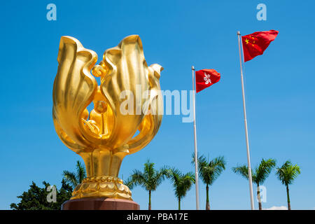 Wan Chai, Hong Kong, China - May 31 2018: The Golden Bauhinia Square in front of The Expo Promenade is the tourist attraction point in Wan Chai distri - Stock Photo