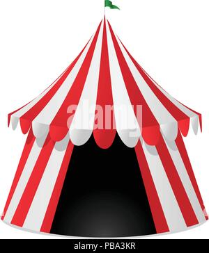 Red striped circus tent isolated on white background - Stock Photo