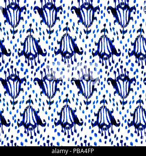 Ikat seamless bohemian ethnic blue and white pattern in watercolour style. Watercolor ikat oriental ornaments for fabric, textile, wrapping - Stock Photo