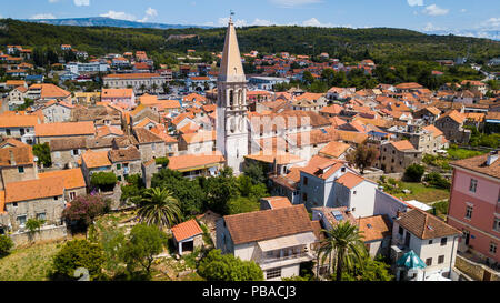 St Stephens church belltower, old town Stari Grad, Hvar island Croatia - Stock Photo