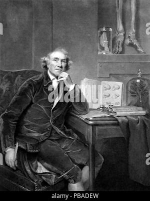 JOHN HUNTER (1728-1793) Scottish surgeon and scientist, engraving after a painting by Sir Joshua Reynolds - Stock Photo