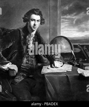 JOSEPH BANKS (1743-1820) English naturalist, engraving after a painting by Sir Joshua Reynolds in 1773 - Stock Photo