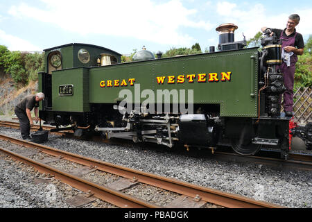 Great Western Railway Prairie Class 1213. Made in 1923. Maintenance being done to the 1213 at Devil's Bridge Railway Station, Wales, UK. July 26th 201 - Stock Photo