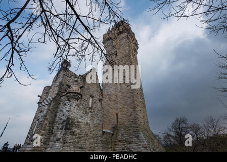 Cloudy day at National Wallace Monument on Abbey Craig, Stirling in Scotland, United Kingdom - Stock Photo