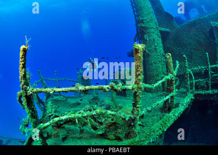 A diver on the Mariana wreck, Paros Island, Greece, Aegean Sea - Stock Photo