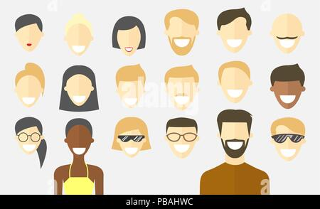 Flat people faces set. Different haircuts. Avatar icons. Vector cartoon impersonal characters. Male and female - Stock Photo