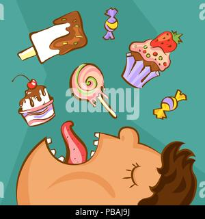 Sweet addiction concept. Unhealthy nutrition conception. Obese man and different desserts in cartoon style. Vector illustration - Stock Photo
