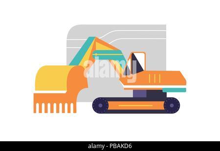 Excavator flat style icon, vector illustration - Stock Photo