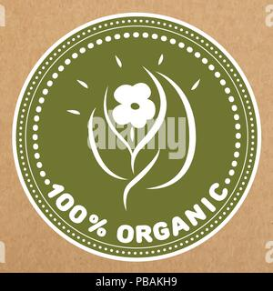 100 % organic vector badge, icon, sticker layout - Stock Photo