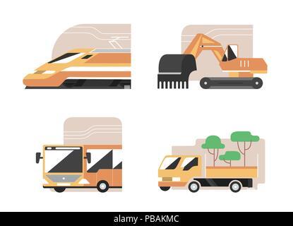 Set of machines. High speed train, excavator, public bus, gardening pickup. Flat style vector icons, municipal technics signs - Stock Photo