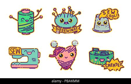 Sewing badge set, cute kawaii flat design style signs, dressmaker icons, vector illustrations - Stock Photo