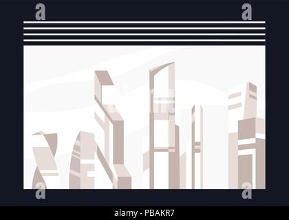 City building window view, flat style, vector illustration - Stock Photo
